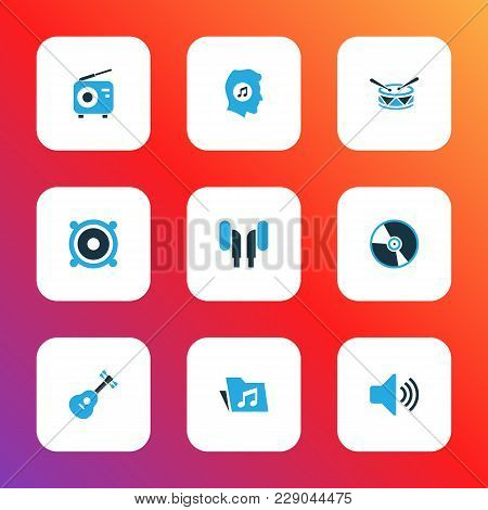 Audio Icons Colored Set With Instrument, Cd, Meloman And Other Folder Elements. Isolated Vector Illu