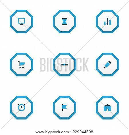 Interface Icons Colored Set With Stopwatch, Edit, Shopping And Other Cart Elements. Isolated Vector