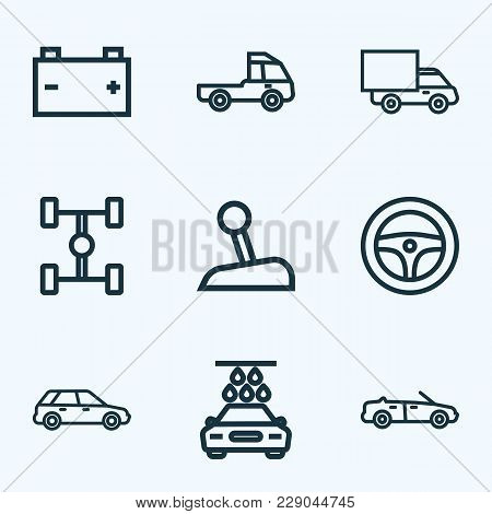 Automobile Icons Line Style Set With Steering Wheel, Prime-mover, Wheelbase And Other Truck  Element