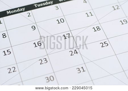 Calendar Page Background. Numbers On Calendar Page