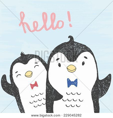 Vector Illustration Of Hand Drawn Sketch Friendly Penguins Isolated On A Blue Grunge Background With