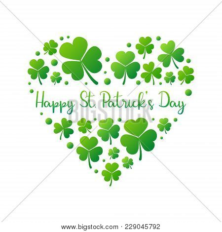 Happy St. Patricks Day Heart Made Of Bright Green Small Shamrocks Or Clovers On White Background. Ve