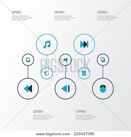 Music Icons Colored Set With Rewind, Sync, Music And Other Forward Elements. Isolated  Illustration