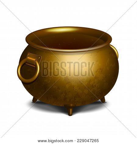 Vintage Empty Golden Cauldron Isolated On White. Vector Illustration