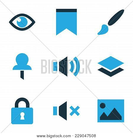 Interface Icons Colored Set With Layer, Eye, Sound And Other Vision Elements. Isolated  Illustration