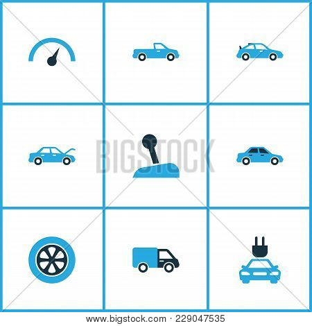 Automobile Icons Colored Set With Plug, Chronometer, Automobile And Other Gear Lever Elements. Isola