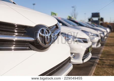 Fuerth / Germany - February 25, 2018: Toyota Logo On A Car. Toyota Motor Corporation Is A Japanese M
