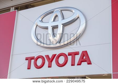 Fuerth / Germany - February 25, 2018: Toyota Logo Near A Car Dealer Building. Toyota Motor Corporati