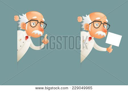 Look Out Corner Old Wise Character Scientist Icons Cartoon Design Vector Illustration