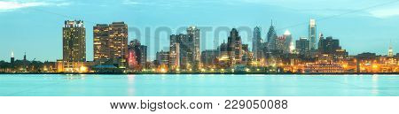 Philadelphia, Pennsylvania, United States - April 23, 2011: Skyline Of Buildings At Downtown Across