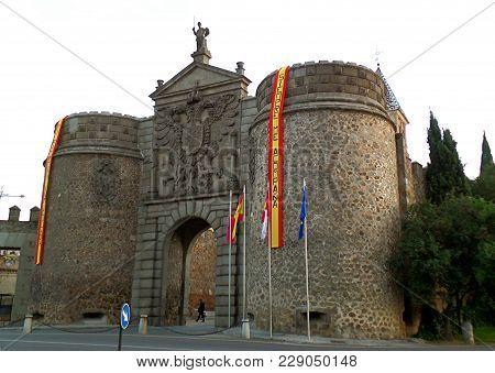Puerta De Bisagra, Historic Town Gate With The Words Siempre Me Acompana (always With Me) In Toledo,