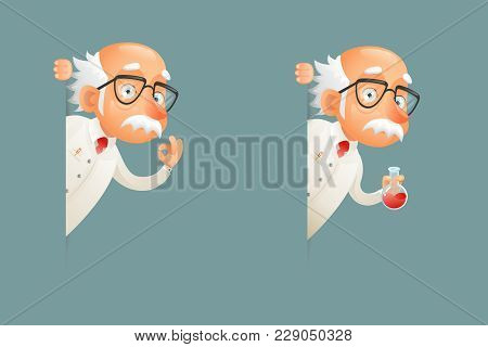 Scientist Old Wise Character Look Out Corner Cartoon Icons Design Vector Illustration