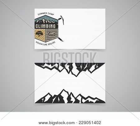 Clean Business Card Template. Mountain Adventure, Climbing Concept With Mountains And Travel Label.
