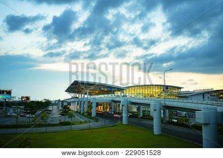 Hanoi, Vietnam - June 10, 2017: Noi Bai International Airport At Twilight With Hall T2, The Biggest