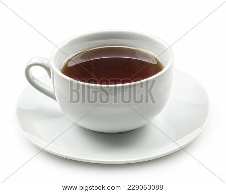 One Cup Of Black Tea With A Saucer Isolated On White Background Breakfast Time