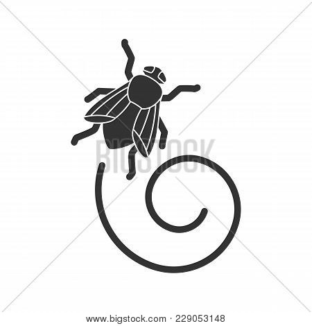 Housefly Glyph Icon. Insect. Musca Domestica. Fly Insect. Silhouette Symbol. Negative Space. Vector