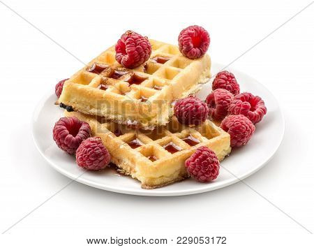 Traditional Waffle (belgian) With Fresh Raspberries On A Saucer And Honey Isolated On White Backgrou