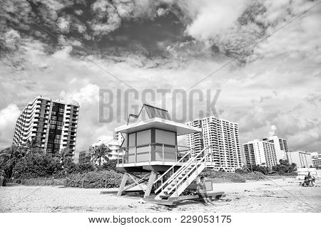 Miami, Usa - January 10, 2016: Miami Beach Or South Beach Colorful Lifeguard Tower, Wooden Station,