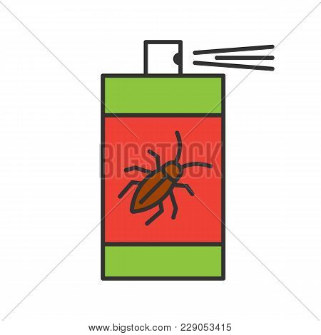 Roaches Bait Color Icon. Cockroach Repellent Spray. Pest Control. Isolated Vector Illustration