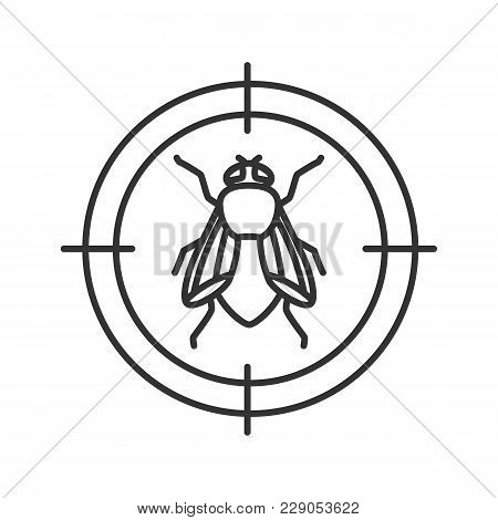 Housefly Target Linear Icon. Flying Insects Repellent. Thin Line Illustration. Contour Symbol. Vecto