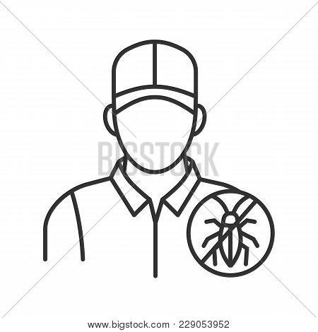 Exterminator Linear Icon. Thin Line Illustration. Pest Control Service. Contour Symbol. Vector Isola