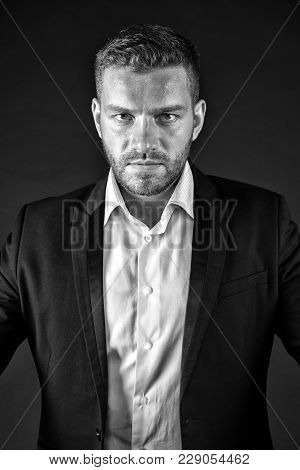 Employer In Jacket And Shirt, Dress Code. Businessman With Bearded Face, Blond Hair, Haircut, Style.