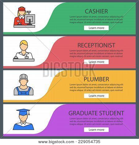 Professions Web Banner Templates Set. Cashier, Receptionist, Plumber, Graduate Student. Website Colo