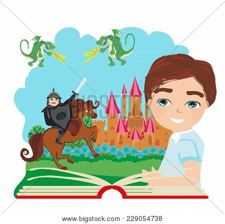 Boy Reading Magic Book With Dragon And Knight , Vector Illustration