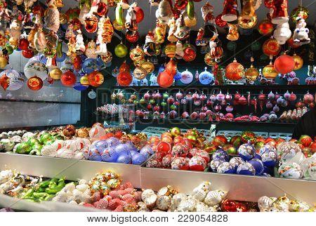 Christmas Glass Ornaments Sell On Christmas Market In Salzburg, Austria