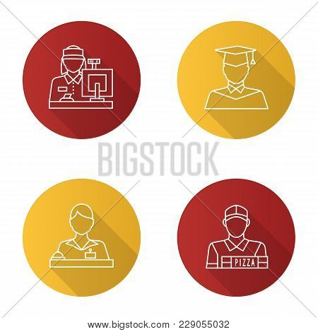 Professions Flat Linear Long Shadow Icons Set. Occupations. Receptionist, Secretary, Cashier, Pizza