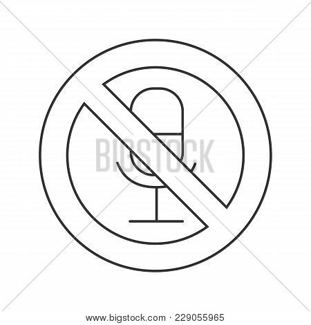 Mute Linear Icon. Without Sound. Thin Line Illustration. Microphone In Prohibition Circle. Contour S