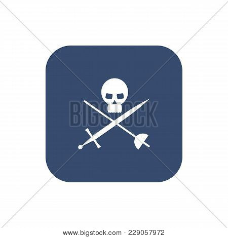 Icon Skull With Crossed Sabers. Vector Illustration.