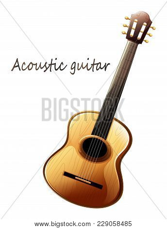 Realistic Acoustic Guitar - Vector, Close-up. Beautiful Realistic Musical Instrument