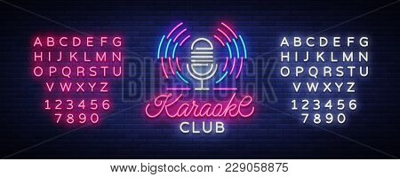 Karaoke Club Logo In Neon Style. Neon Sign, Bright Nightly Neon Advertising Karaoke. Light Banner, B
