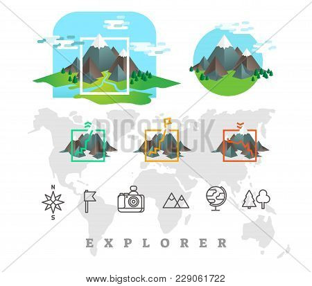 Explorer Vector Illustration Set With Mountains And Line Icons. Full World Map Silhouette.