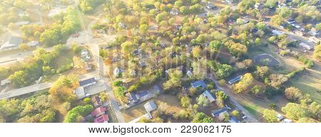 Scenic Aerial View Of Green Suburban Area Of Ozark, Arkansas, Usa