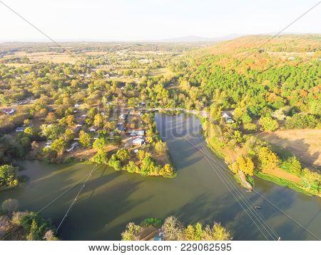 Scenic Aerial View Of Green Suburban Area Of Ozark, Arkansas, Usa