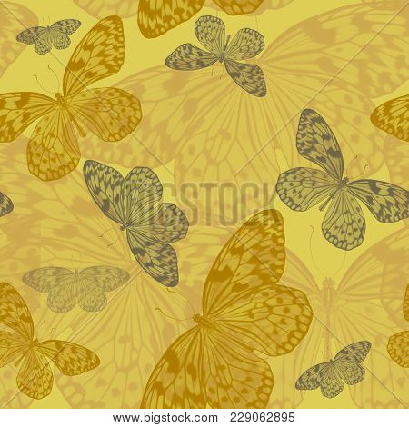 Seamless Abstract Art Pattern Of Tropical Butterflies Idea Leuconoe  In Yellow Tones