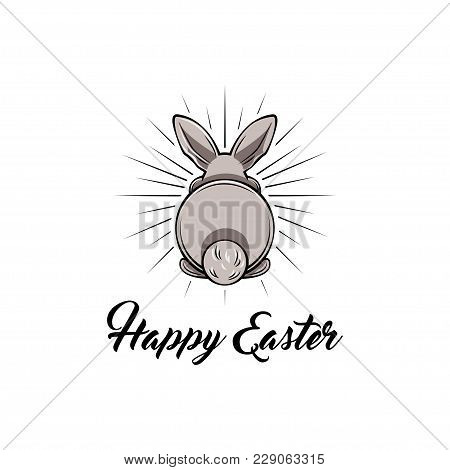 Happy Easter And White Bunny Bottom. Vector Illustration. Easter Greeting Card.