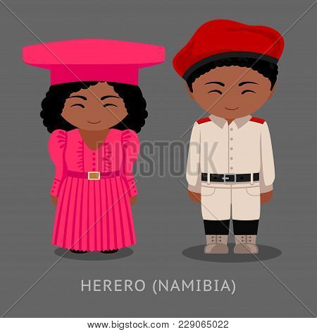Herero People In National Clothes. Man And Woman In Traditional Costume. Cute Cartoon Characters. Tr