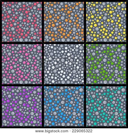 Set Of Abstract Seamless Patterns Of Circles Of Different Colors On Dark Grey Backdrop. Collection O