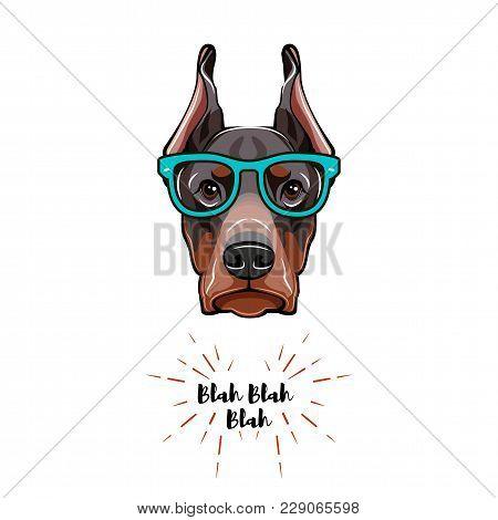Doberman Dog In Glasses. Geek Dog. Vector Illustration Isolated On White Background.