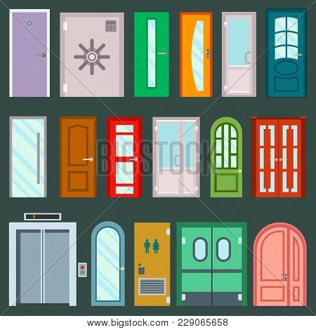 Vector Doors Design Furniture Elements Doorway Front Entrance To House Set Of Building In Flat Style