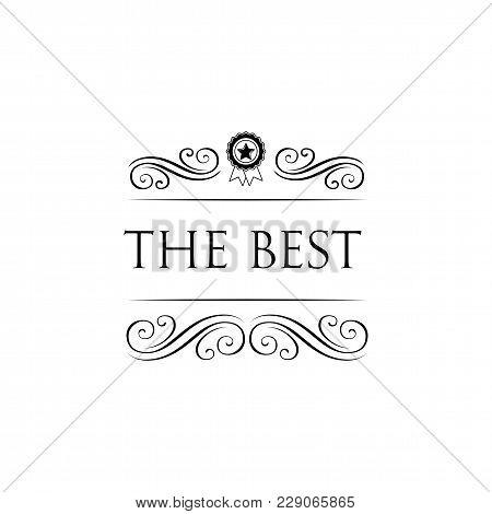 Illustration Of Winner Trophy Icon. The Best Winner Award Lettering. Swirls, Ornate Frames. Vector F
