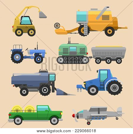 Agricultural Vehicles Harvester Vector Tractor Machine, Combines And Excavators. Icon Set Agricultur