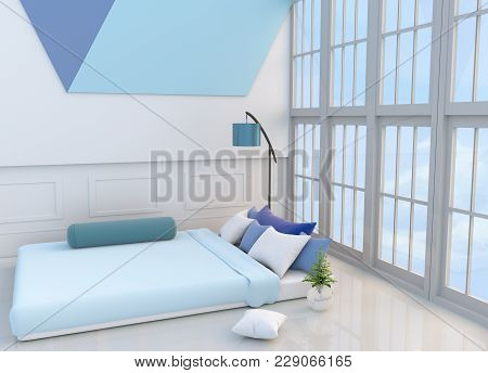White-blue Bedroom Decorated With Light Blue Bed,tree In Glass Vase, Pillows,  Window, Blue Lamp,bol
