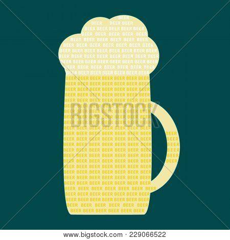 Mug Of Beer On Dark Background. Font Design. Vector Illustration