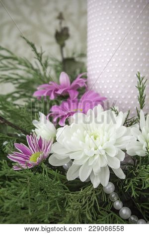 White And Pink Chrysanthemums With Ivy And Juniper Branches. Festive Flower Arrangement. Chrysanthem
