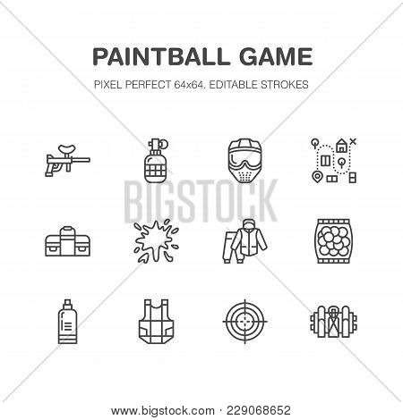 Paintball Game Vector Flat Line Icons. Outdoor Sport Equipment, Paint Ball Marker, Uniform, Mask, Ch