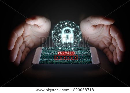 Cyber System Security Concept, Woman Hand Protection Network,data With Lock Icon,password Text And V